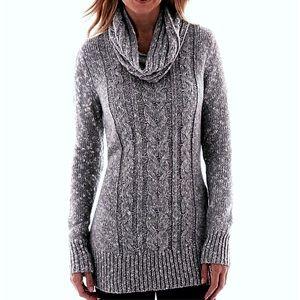 Long Sweater Tunic w/ Scarf Grey size small by SJB